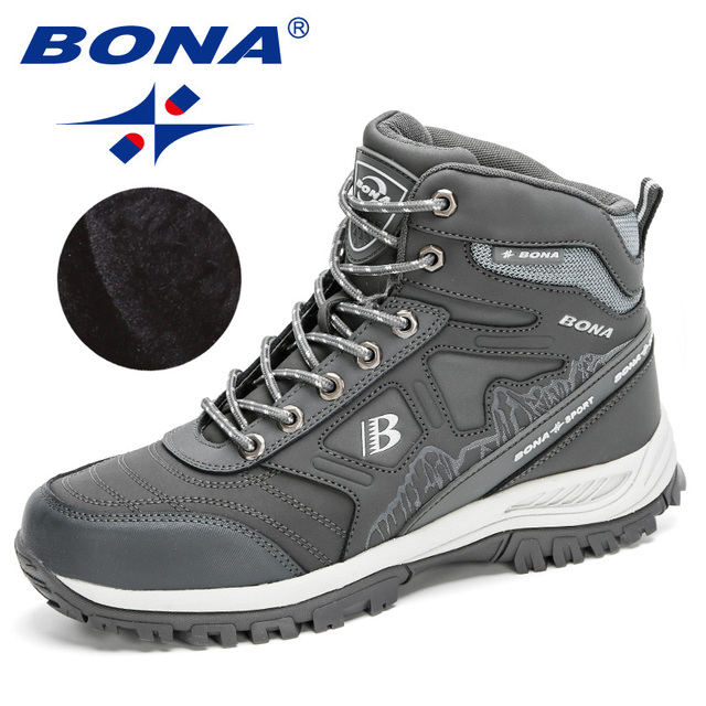 BONA 2020 New Arrival Hiking Shoes Action Leather Shoes Men Climbing & Fishing Shoes Man High Top Winter Plush Snow Boots Trendy 5