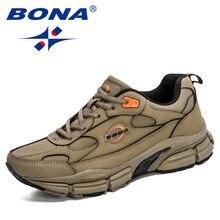 Bona 2020 новые дизайнерские мужские кожаные кроссовки на шнуровке