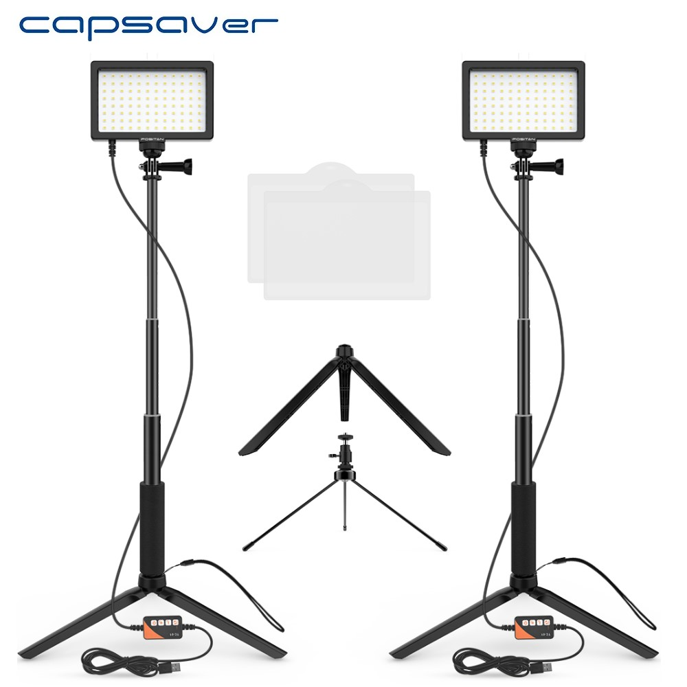 capsaver LED Video Light TL-96A Photography Lamp Bi-color 3200-5600K Dimmable Panel Light with Tripod for Youtube Selfie Makeup