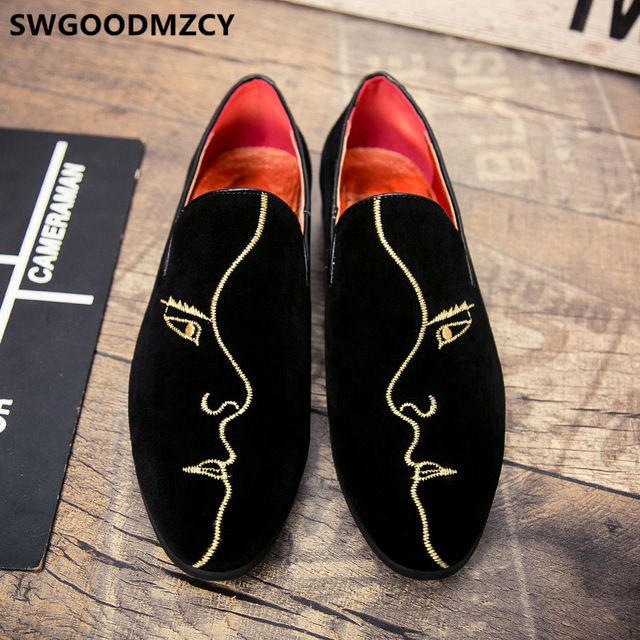 Dressing Shoes For Men Coiffeur Italian Shoes Men Loafers Embroidery Fashion Formal Shoes Men Classic Sepatu Slip On Pria Buty