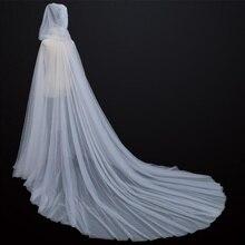 Wedding Tulle Cloak Cape White/Ivory/Black Hooded Medieval Long Bridal Shawl Coat Women Cape Coat hood cape  bolero formal