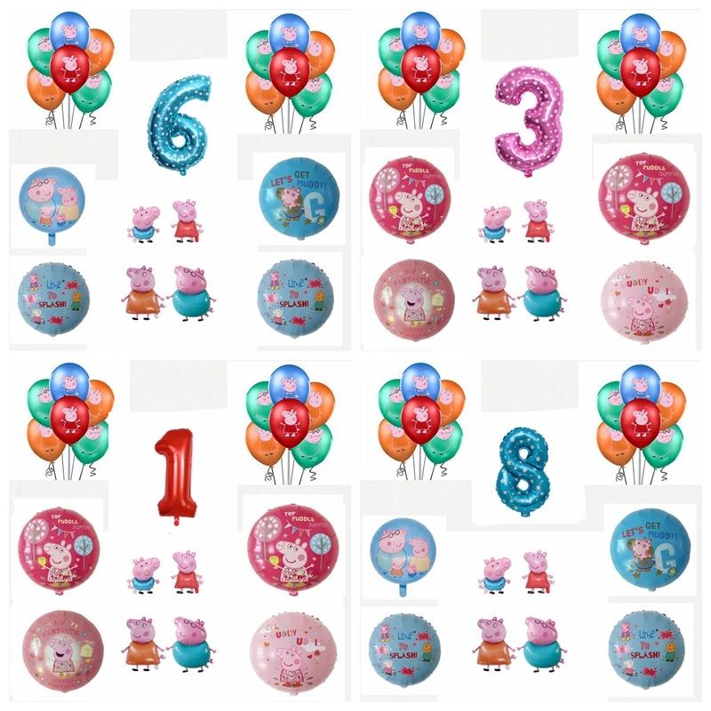 Воздушный шар «Свинка Пеппа», игрушка в виде Свинки Пеппа, героини семьи, экшн-фигурки для мам, пап, украшение для дня рождения, подарок для д...