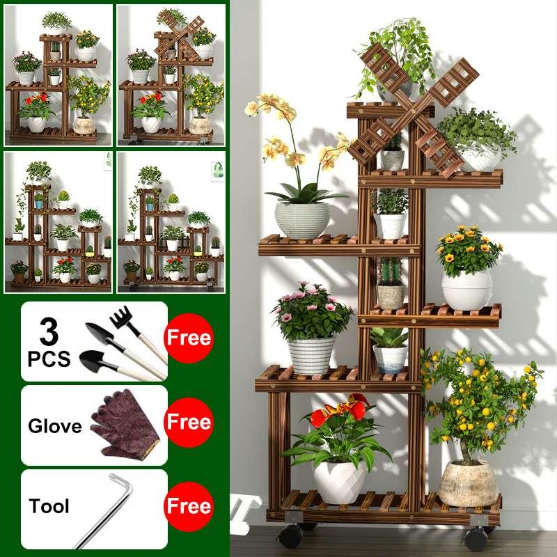 Plant Stand Shelf Indoor Wood Flower Pot Rack Patio Planter Shelf Outdoor Bonsai Displaying Shelves For Garden Yard With Wheel