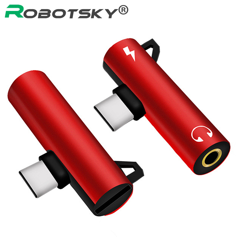 Robotsky 2 In 1 Type C To 3.5mm Earphone Converter USB Type-C Headphones Audio Adapter For Xiaomi 6 Huawei Samsung USB C Phones