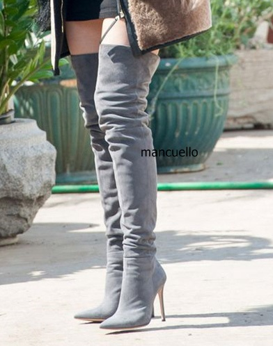 Concise Style Grey Suede or PU Leather