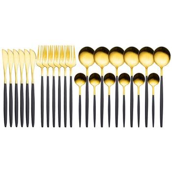 24pcs Gold Dinnerware Set Stainless Steel Tableware Set Knife Fork Spoon Luxury Cutlery Set Gift Box Flatware Dishwasher Safe - Black Gold