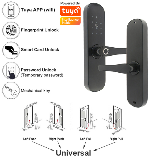 RAYKUBE Tuya APP Wifi Electronic Door Lock Fingerprint 13.56mhz Card Password Unlock Mortise Lock EU US Standard