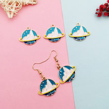 Hand made accessories iceberg satellite round tag DIY alloy accessories earrings earrings pendant hand made materials charms