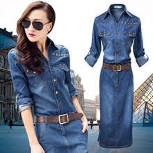#0416 Summer Blue Jean Dresses For Women Fashion Short Sleeve Streetwear Long Denim Plus Size XXXL Casual Clothing Lady