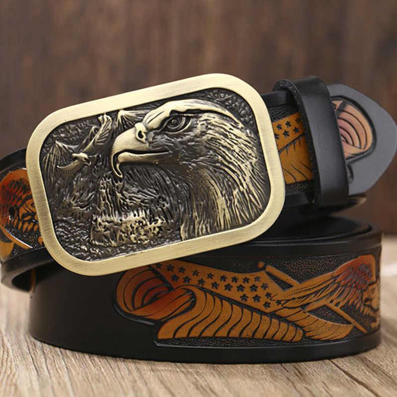 男性の本革ベルト男性最高品質のイーグルトーテム銅スムーズバックルレトロベルトのためのギフト男性ゴールドベルト