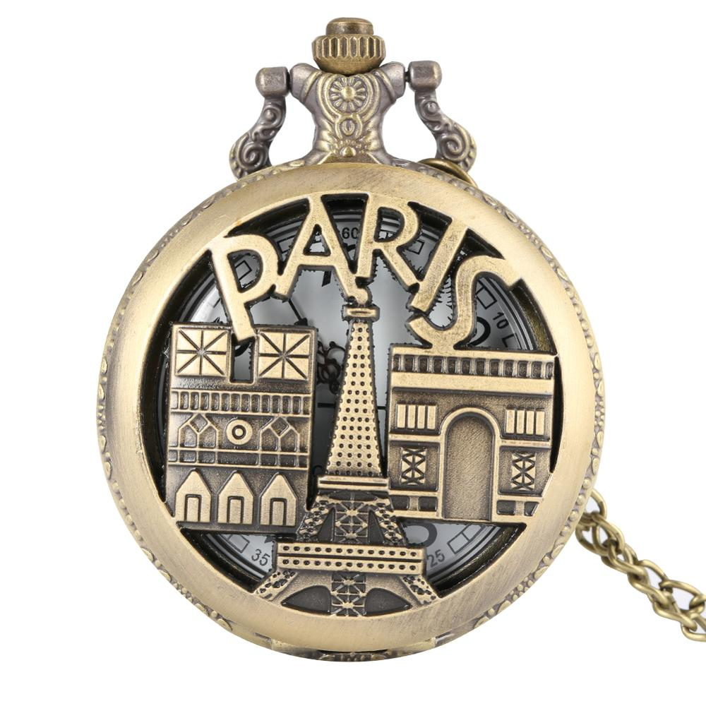 Pairs Triumphal Arch Eiffel Tower Theme Quartz Pocket Watch Necklace Chain Pendant Accessory Clock Gift Relogio De Bolso