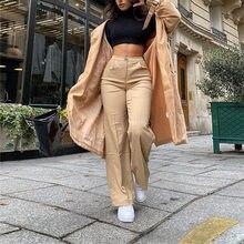 Anjos segredo 2021 cintura alta sólida zip up botton calças largas perna outono inverno moda feminina streetwear calças casuais ag30826