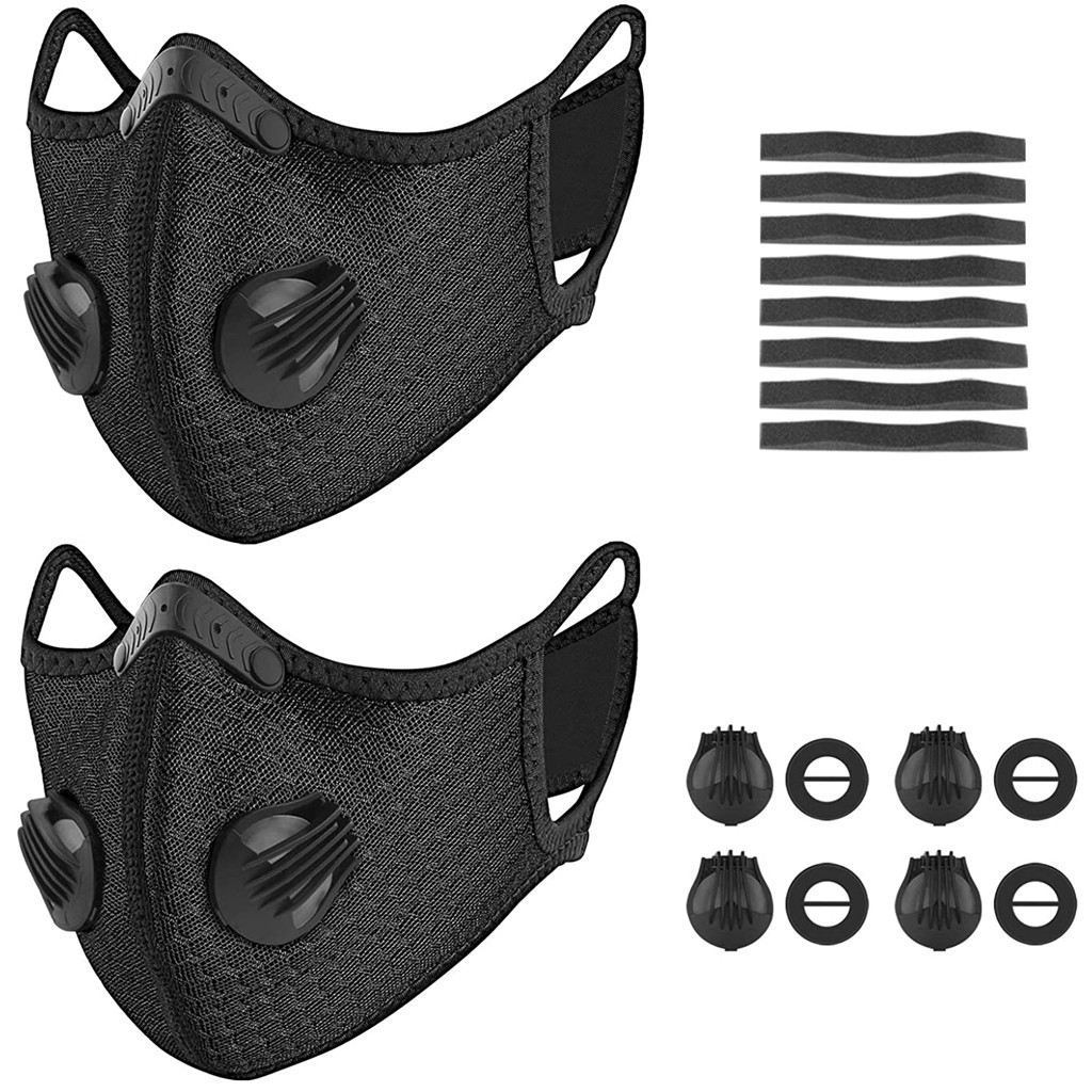 2pcs Bicycle Mask Sports Mask Windproof Protective Breathable Mask Bicycle Dust Face Mask Mouth Masks With Filter And Foam Mats