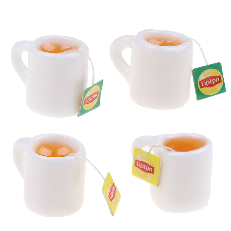 4Pcs Miniature Dollhouse Coffee Cup Kitchen Room Food Drink Home Decoration PICA