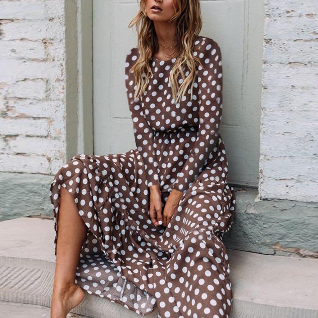 Women Dress Sexy Dot Printing LongSleeve O Neck Long Dress Evening Party Dress Vestidos De Fiesta De Noche 2020 new