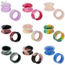 ZS 3-25mm Doppel Ausgestelltes Acryl Silikon Flexible Ohr Messgeräte Tunnel Plugs Ohr Expansion für Männer Frauen Ohr bahre Ohr Piercing
