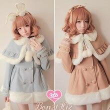 Милое пальто принцессы в стиле Лолиты Bobon21, зимнее теплое шерстяное пальто с помпонами и помпонами кремового цвета c0958