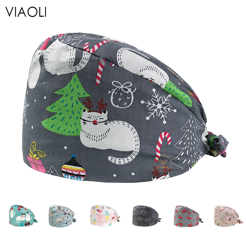 Medicalsurgical Cap Women And Men Beauty Cap Doctor Hat Printed Operating Room Hat Male ICU Work Hat Stomatologist Cap Gourd Cap