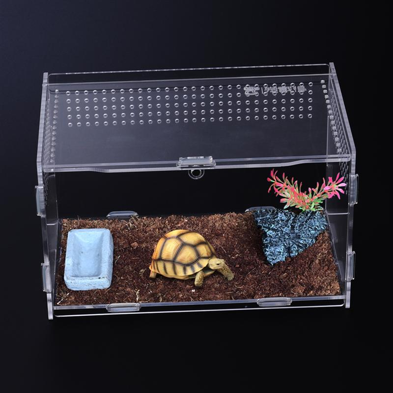 UEETEK Acrylic Transparent Reptile Box For Spider Scorpion Gecko Insect Snake Tortoise Reptile Breeding Box Amphibian Supplies