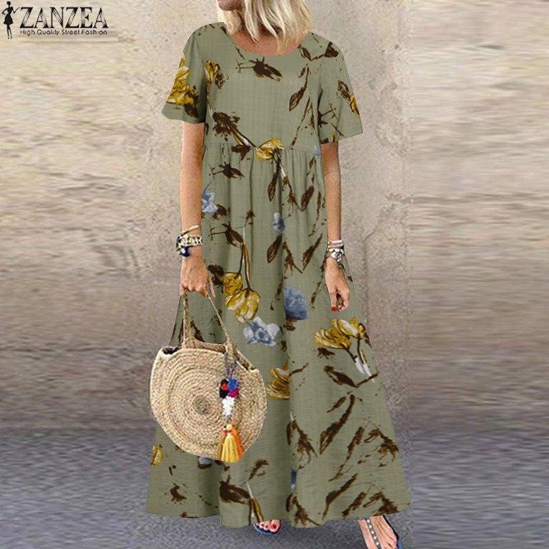 ZANZEA فستان صيفي طويل بأكمام قصيرة ، بدلة نسائية مطبوعة ، خصر عالي ، مقاس كبير|Dresses| - AliExpress