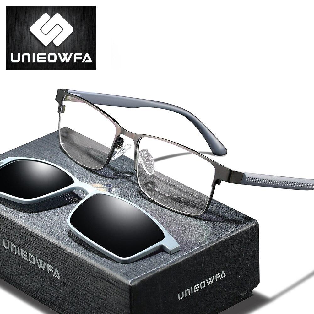 2 In 1 Magnetic Clip On Prescription Glasses Sunglasses Men Polarized Optical Myopia Eyeglasses Progressive Photochromic Degree