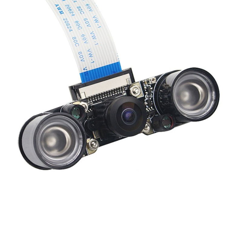Infrared Night 5Mp Camera Module with 160 Degree Wide Angle Fisheyes Lens +2Pcs Of 3W Backlight for Raspberry Pi 2/3/B+