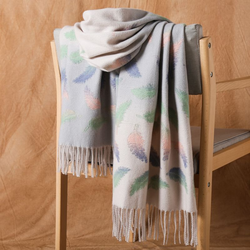 Cut Flower Cashmere Scarf Women Winter Thickening New Korean Student Scarf Wild Gradient Color Warm Tassel Shawl Bufanda Шарф