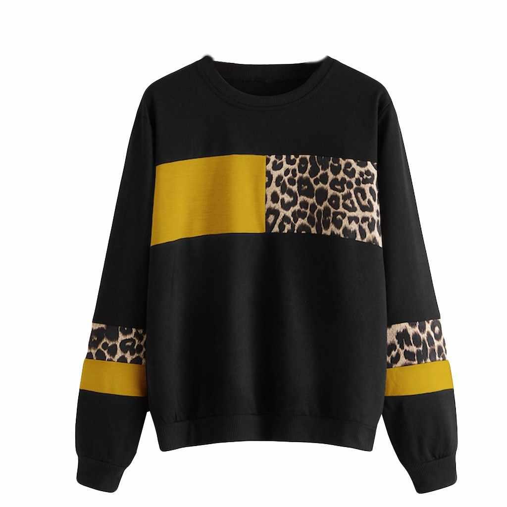 بلوزات النساء ليوبارد طباعة س الرقبة بلوزة بلايز قميص قطني بكم طويل البلوز سوداديرا موخير 2019