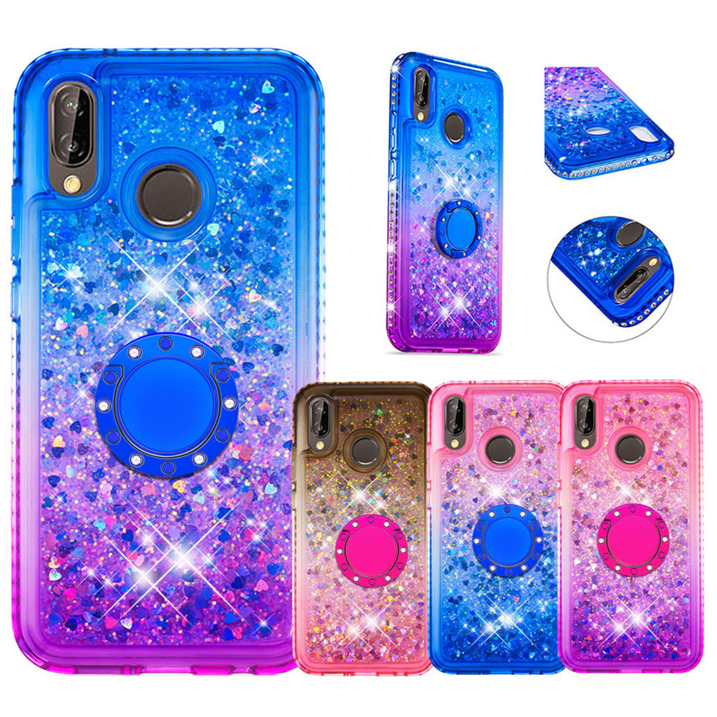 Bling liquid Glitter Finger Ring <font><b>Case</b></font> for <font><b>Huawei</b></font> <font><b>P20</b></font> P30 Lite Pro 2019 Nova 5i Nova 3e <font><b>Case</b></font> Soft Silicone Stand <font><b>Diamond</b></font> Cover image