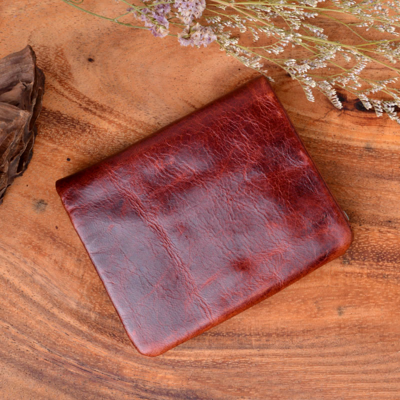 AETOO Handmade Works Of Art Wallet Retro Coin Purse Brush Color 100% Genuine Leather Wallet Men Bag The Best Gift