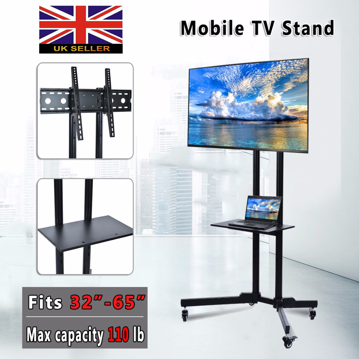 "Universal Mobile TV Cart Free Lifting Stand 32""-65""LED LCD Plasma TV Trolley Stand with Mobile Wheel TV Table Monitor Base Stand"