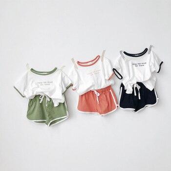 2020 Girls Boys Summer Suit Kids Children Clothing Set Including T-shirt+shorts 2pcs Per