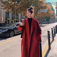 Cappotto lungo da donna nero rosso coreano retrò cappotto di lana sciolto cintura giacca a vento di lana moda Oversize autunno 2021 cappotto spesso da donna 3Xl