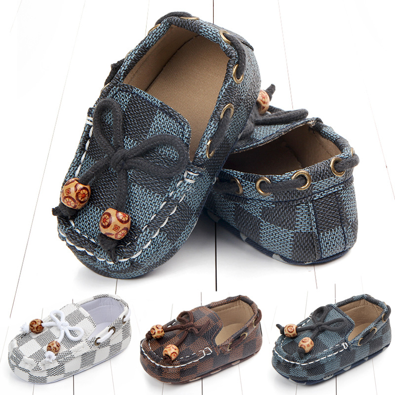Baby Shoes Leather Moccasin Infant Footwears Black Shoes For New Born Leather Baby Boy Shoes For 0 -1year Babies Wholesaler