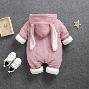 Image 3 - Ensemble de vêtements pour bébés, tenue dhiver froide, à capuche, pour nouveau né, ensemble de vêtements épais, barboteuse 40, décontracté