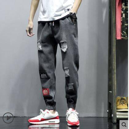 Black Checkered Jeans With Holes For Men Fashion Casual Hip Hop Punk Gothic Style Jeans