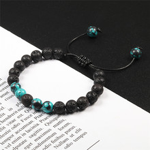 Adjustable Natural Lava Stone Bracelet Women Natural Black Tiger Eye Stone Buddha Bead Yoga Oil Diffuser Blue Bracelets Jewelry(China)