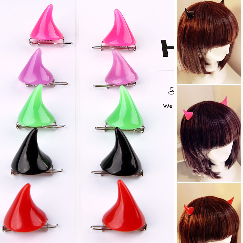 1Pair Halloween Stereo Devil Horns Ears Hairpins Creative Cosplay Costume Colorful Barrettes Women Girls Hair Clip Accessories