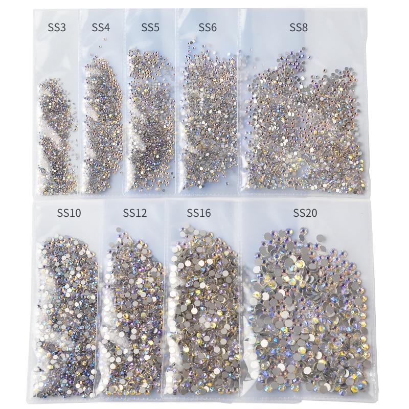 1440 шт, SS3-SS20, цветные стразы AB для ногтей, без горячей фиксации, плоская задняя сторона, 3D дизайн ногтей, украшения, одежда, белые украшения