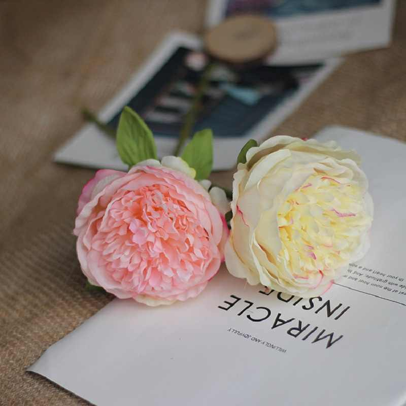 Clearance! Artificial Peony Short Branches Single Silk Fake Peonies Flowers Vivid Bridal Floral Wedding Party Home Decoration
