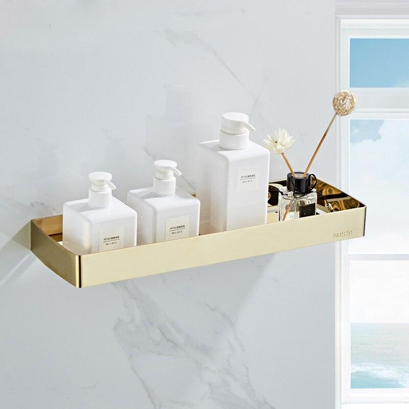 Salle de bain coin étagère or 304 en acier inoxydable noir cuisine étagère support de douche rangement organisateur porte-papier salle de bain accessoire