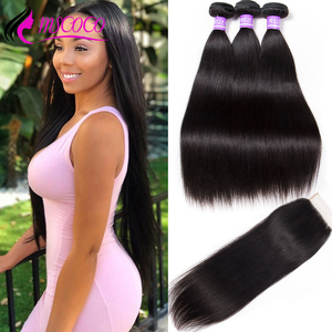 Mscoco Hair Brazilian Straight Hair Bundles With Closure Remy Human Hair 8- 30 Inch Bundles Lace Closure With Bundles(China)