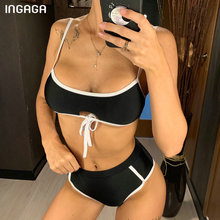 INGAGA High Waist Bikini Bandeau Swimsuits 2019 Knotted Swimwear Women Strap Bathing Suit Women Sexy Solid Beachwear Biquini