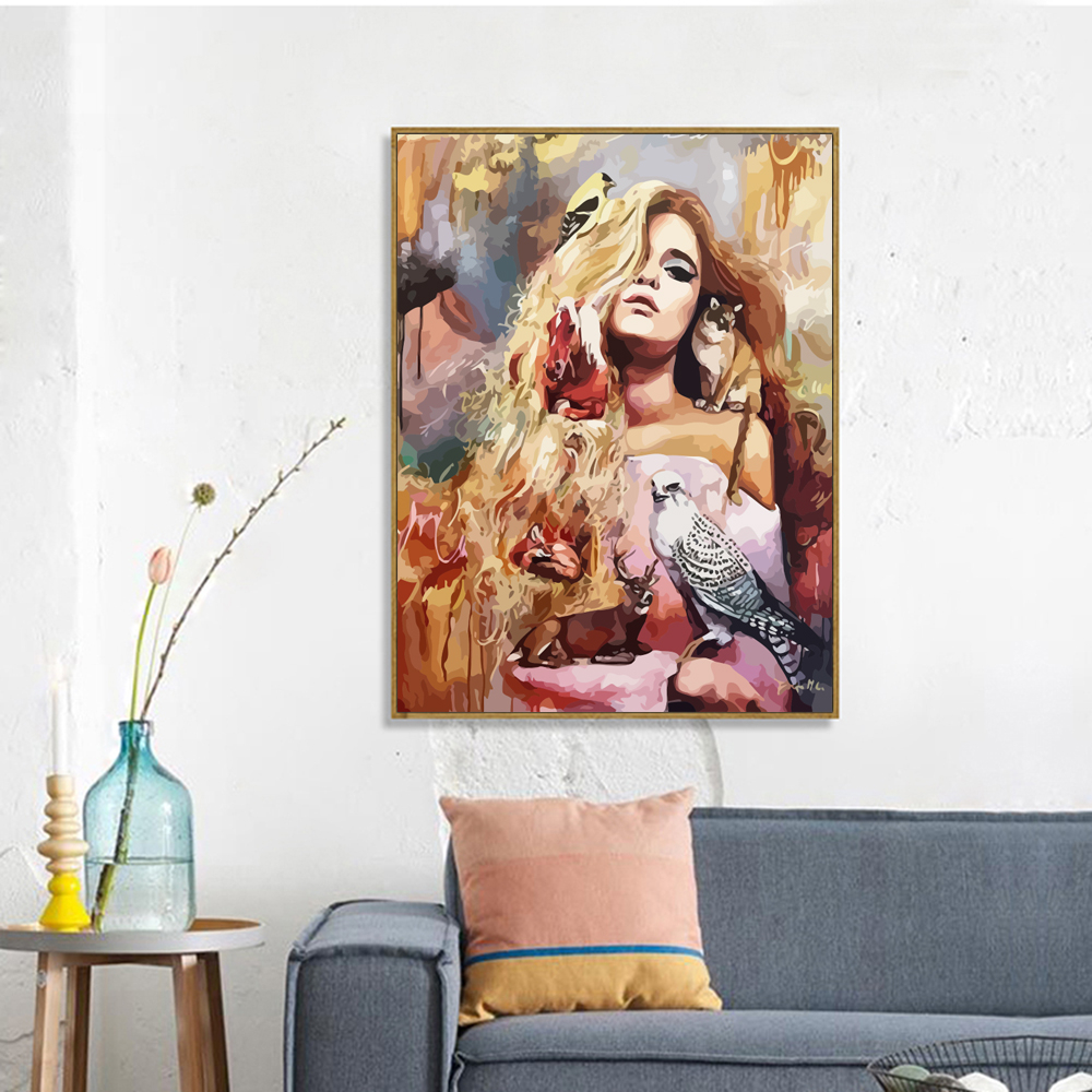 HUACAN Painting By Number Animal Girl Drawing On Canvas HandPainted Gift Kits Wall Art DIY Pictures By Number Figure Home Decor