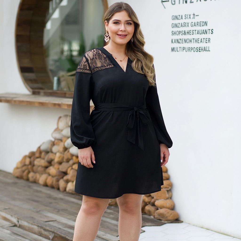 Vestido de las mujeres ropa mujer vestidos de verano 2019 mujer traje de manga larga Casual Patchwork a-línea XL-4XL Z4