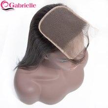 Gabrielle – Lace Closure 5x5 6x6 brésilienne Remy, cheveux naturels lisses, couleur naturelle, closure cheveux humain pre-plucked, avec Baby Hair