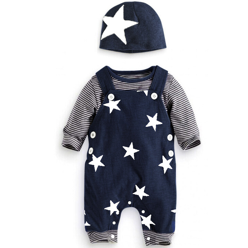 Baby Boys Autumn clothing set 3Pcs Overalls Pant Long Sleeve T Shirt Hat stars pattern costumes suits