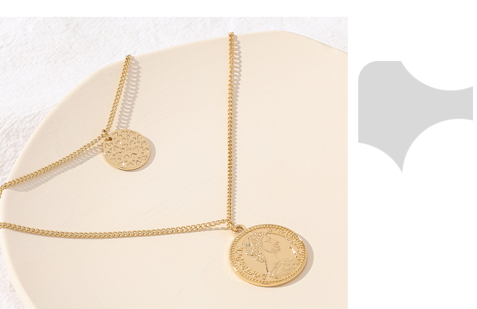 H7509e913423747d0b5de3ea91dc42f95M - Yhpup Vintage Retro Round Portrait Coin Pendant Necklace Statement Charm Ethnic multilaye Necklace For Female Punk Gold Gift