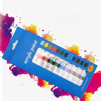 цена на 12 Color Acrylic Paints Set 12ml Tubes Drawing Painting Pigment Hand-painted DIY