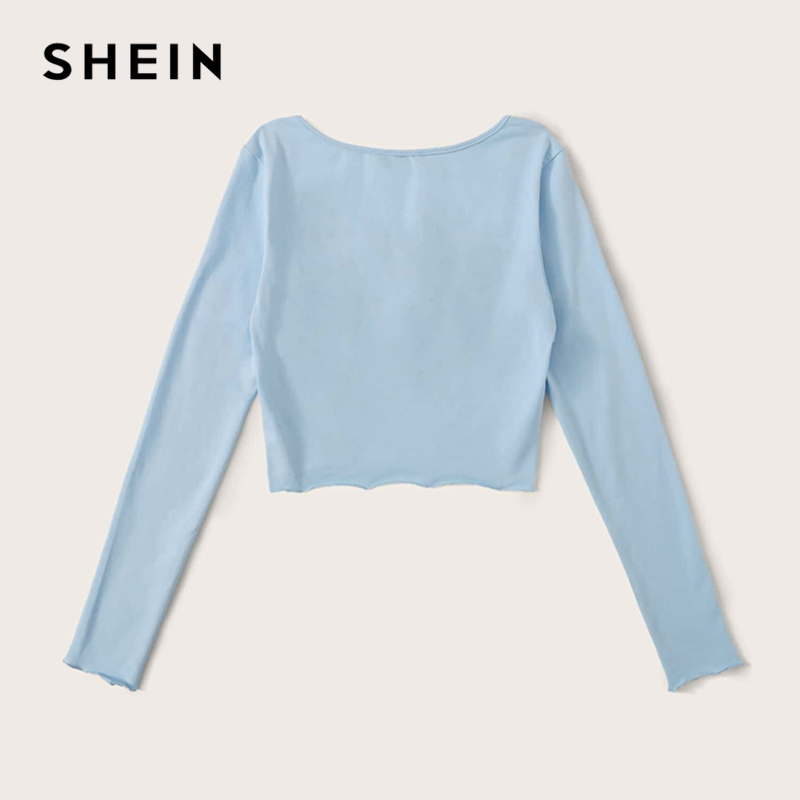 SHEIN Solid Lettuce Trim Crinkle Front Fitted Sexy Crop Tee Women Tops Spring Square Neck Long Sleeve Laides Skinny T-Shirts 2